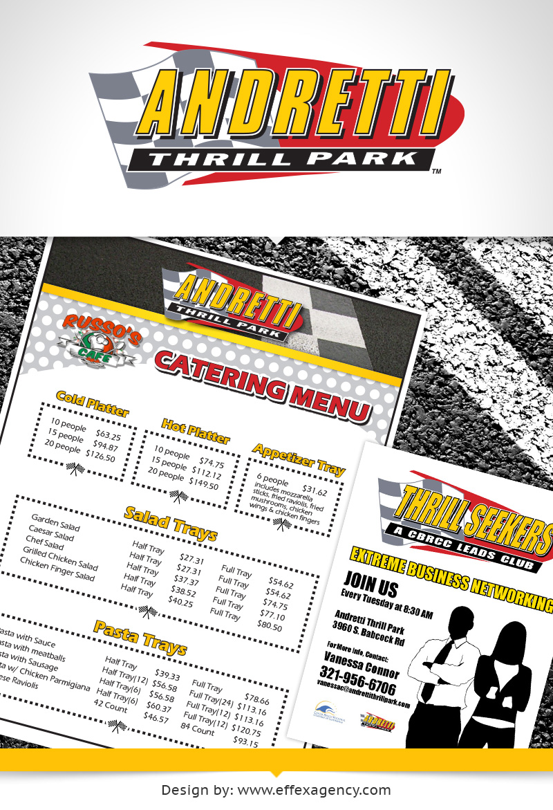 Print promotional materials for Andretti Thrill Park in Melbourne, Florida