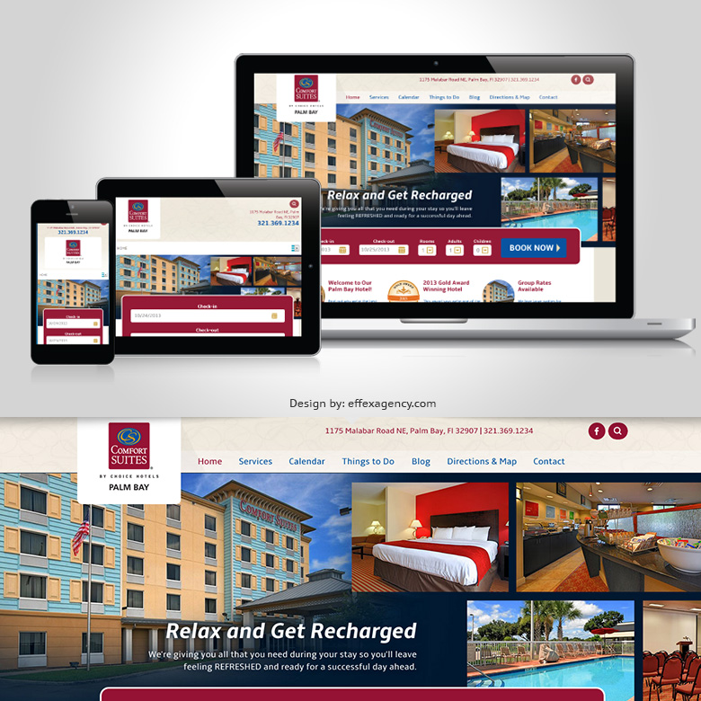 Palm Bay hotel website for Comfort Suites