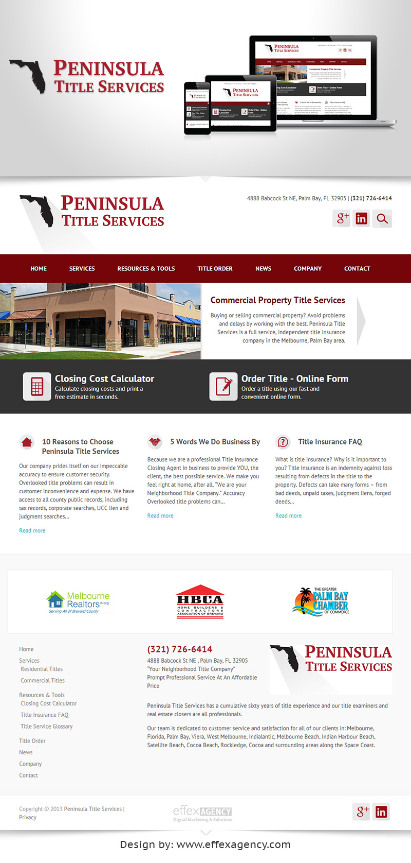 Responsive web design for Peninsula Title Services in Melbourne, Florida