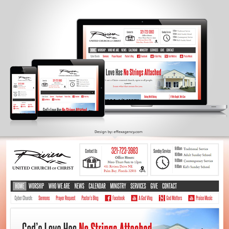 Riviera UCC, responsive church website