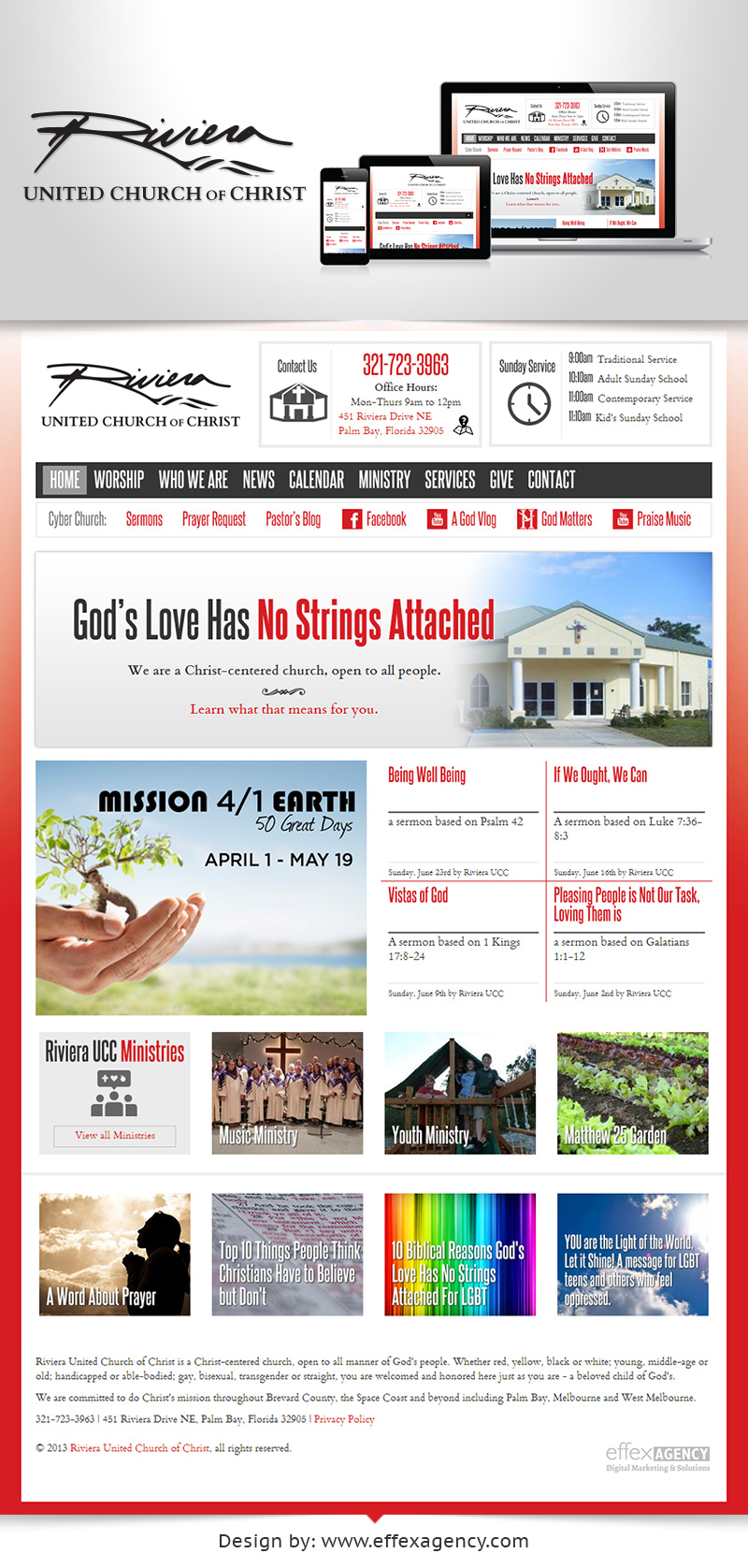 Mobile responsive website design for Riviera United Church of Christ
