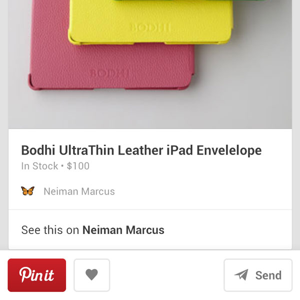 A Pinterest rich pin for a product