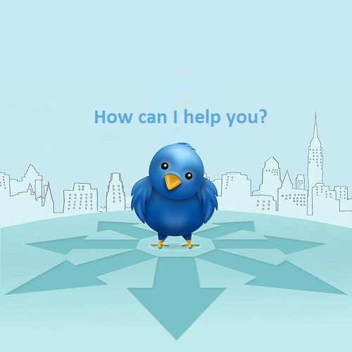 Twitter bird offering customer support.